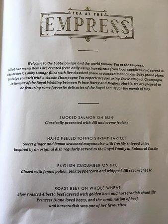 Tea at the Empress: Menu first page