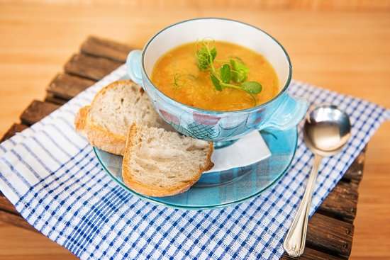 Lauder, UK: Hearty soups - always gluten free (GF bread available too!)