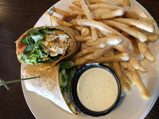 JC's BBQ & Grill: Buffalo Chicken Wrap with Queso Fries