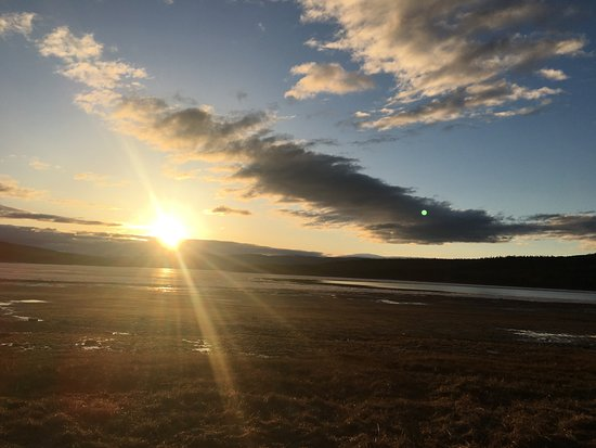 Teslin, Kanada: Sunrise, view from our RV site