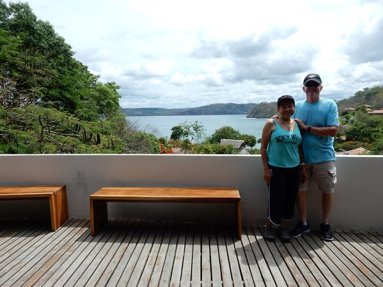 Secrets Papagayo Costa Rica: View of the bay and red tile rooftops from the hotel lobby.