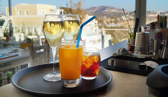 1500 BC Restaurant: Your Drink in our Wine bar in Fira Santorini