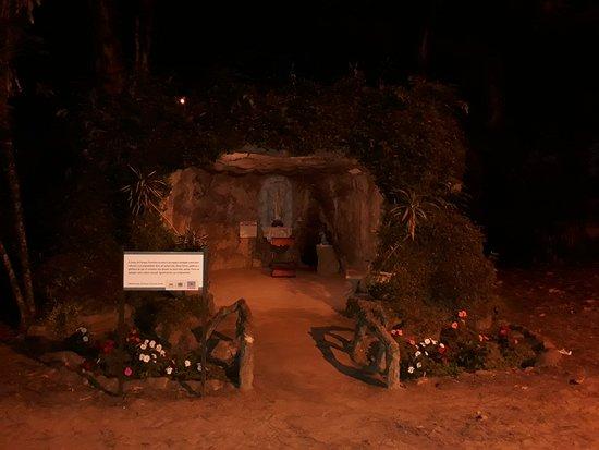 Parque Vicentina Aranha: Imagem de Nossa Senhora numa gruta dentro do parque.