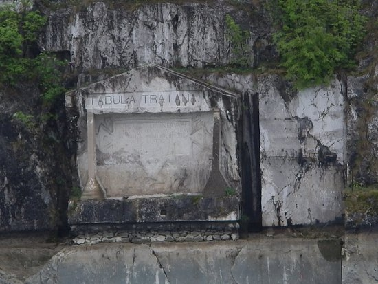 Iron Gates: Old Roman Plaque along river