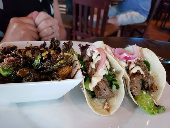 Hickory Tavern: brussel sprouts and steak tacos