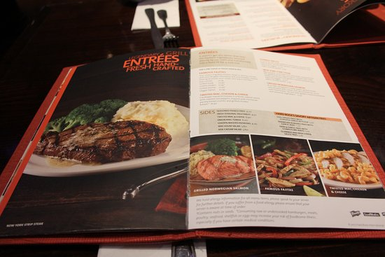 Hard Rock Cafe: The menu