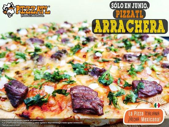 Pizzatl - Pizzeria Delicatessen: ¡Solo durante Junio! Prueba nuestra Pizzatl de: ¡Arrachera! 🍕 ♥  #Orizaba #Pizzatl