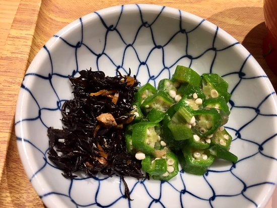 Hakata Fukuichi, Saitama Shintoshin: 小鉢/昆布佃煮&おくら