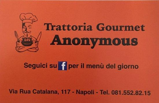 Anonymous Trattoria Gourmet : Biglietto del locale