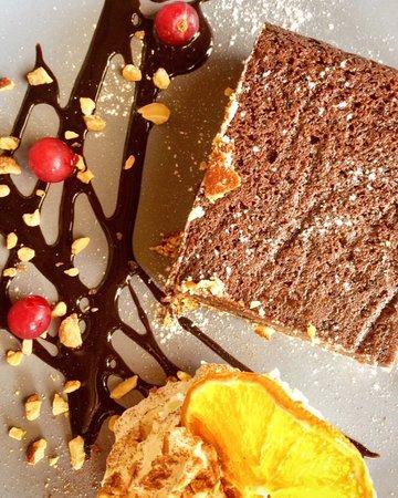 Chocolate brownie with cheesecake bottom.