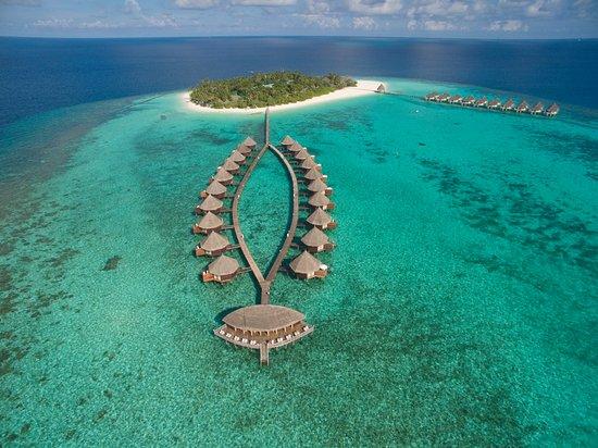 Angaga Island Resort & Spa: Aerial Bird's-eye View Water Bungalows Sunset Bar