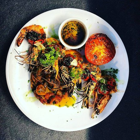 PerBacco!: Grilled king prawns served with roasted peperonata and preserved lemon dressing