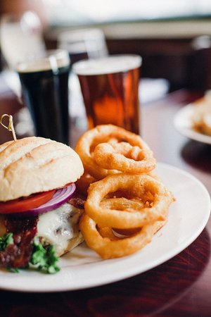 Firefly American Bistro : Firefly burger, beer-battered onion rings; 16 beers on draught