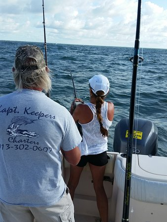 Kapt Keepers Charters: My beautiful bride at the start of the fight - fishing for shark.