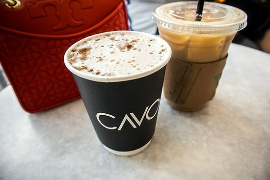 Cavo Coffee: Chai Latte (left) and iced coffee (right)