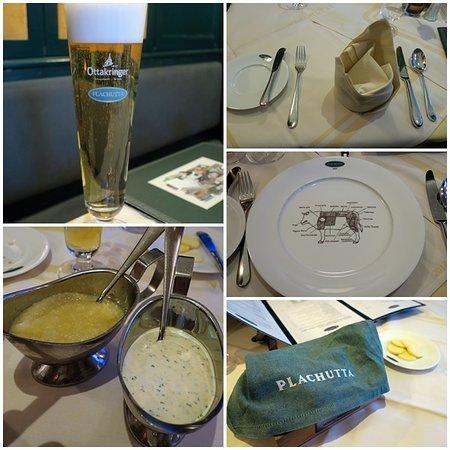 Plachutta : ビール/お肉のソース/テーブルセッティング