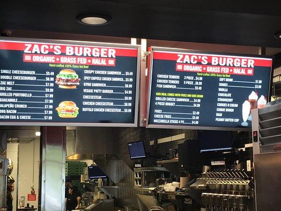 Zac S Hamburgers Menu