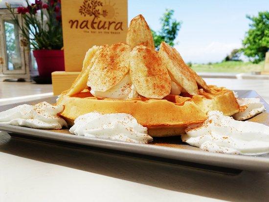 Natura Βeach Βar: belgian style waffle with greek yogurt, banana and cinammon