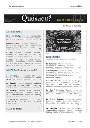 Quésaco? : Au menu....