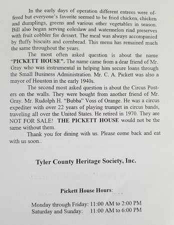 Woodville, TX: Pickett House Restaurant