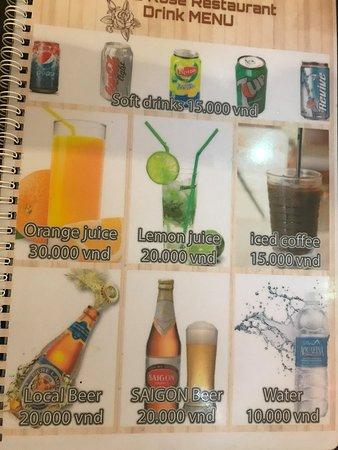 White Rose Restaurant: drink menu