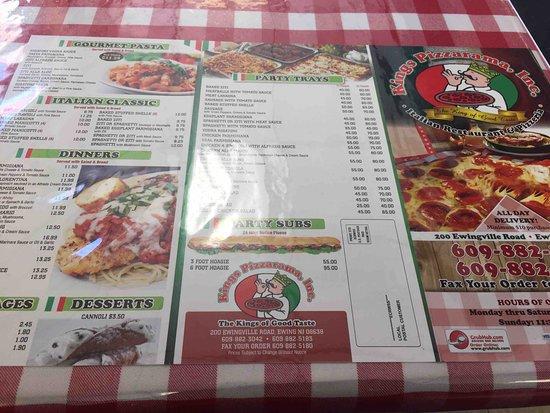 King's Pizzarama : Table Menu
