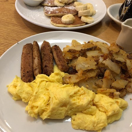 West Caldwell, NJ: Chicken sausage breakfast w/banana pancakes (banana $2 extra)