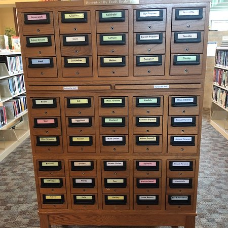 Coeur d'Alene Public Library: Seed bank in old card catalog drawers