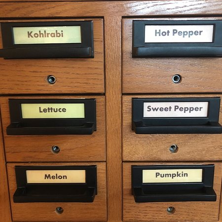Coeur d'Alene Public Library: Each drawer holds a different type of packaged seeds
