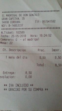 El Madrigal de Don Gonzalo : чек