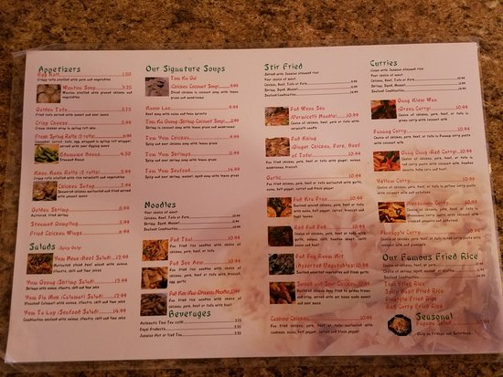 Menu Picture Of Taste Of Thai Lexington Tripadvisor