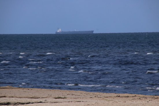 Werribee South Beach: A huge cargo passing by