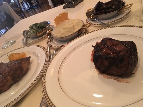 Bohanan's Prime Steak and Seafood: Filet, Creamed Spinach, Goat Cheese Mashed Potatoes, Portobello Mushrooms in Red Wine