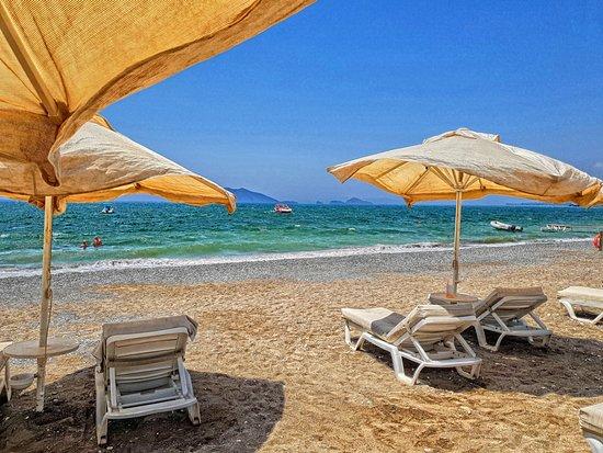 Jiva Beach Resort: liegeplätze am strand (beteich gehört zum hotel)