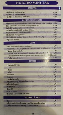 Cafe de Agata: Carta de mini-bar