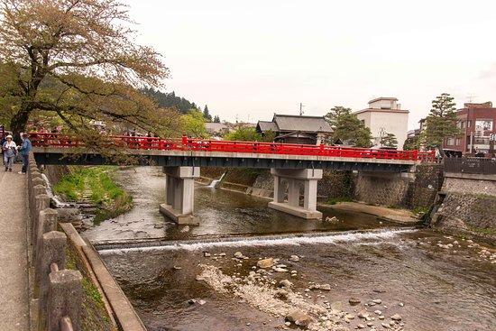 Nakabashi Bridge: The Nakabashi (Red) Bridge as seen from down stream