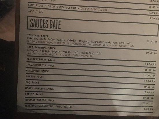 Terminal F: sauces