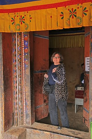 Bumthang District, Bhutan: Chainmail shirt from the door into the temple