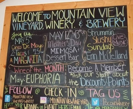 Mountain View Vineyard, Winery & Brewery : Welcome Sign & Events