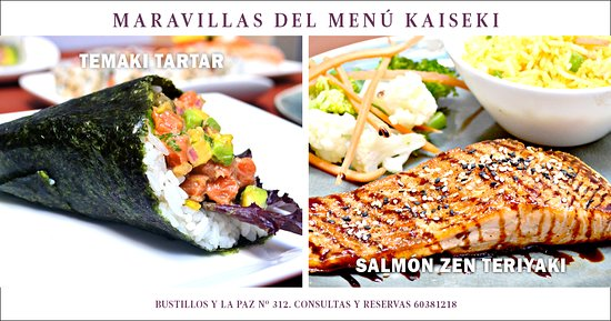 Kaiseki Sushi Restaurant : From our new Menú, try our new tartar temaki, dont loose our Salmon zen with teriyaki sauce
