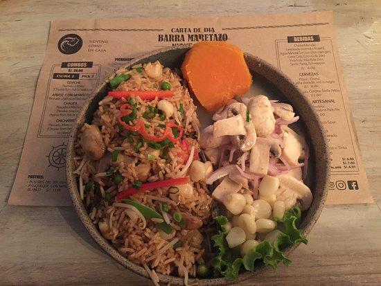Barra Maretazo: Combo: Veg chaufa and mushroom ceviche