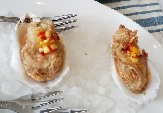 Fluke Newport : Crispy Oysters on the half shell in savory sauce