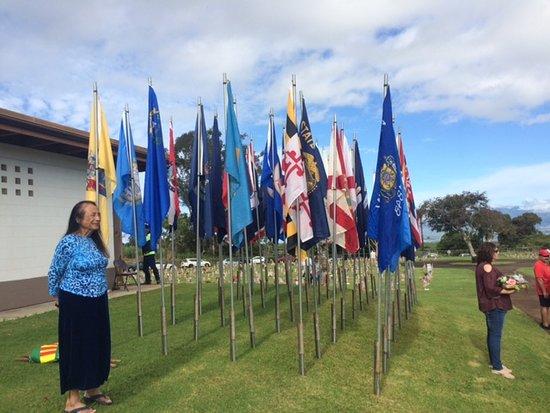 Maui Veterans Cemetery: Flags prepared for Memorial Day 2018