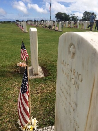 Maui Veterans Cemetery: The grave of Magario Marion is surrounded by many of the fallen.