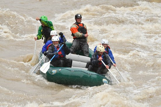 Gallatin River Scenic Float Rafting: I'm the bearded wonder on the right side of the boat.
