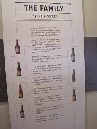 TABASCO Brand Factory Tour & Museum: In the museum - description of the sauces.
