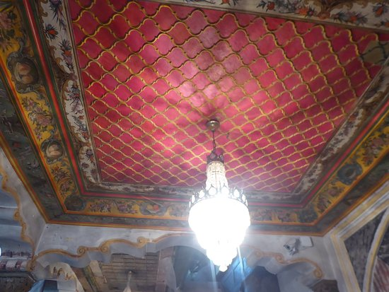 A partially-restored ceiling in the Tombul Mosque