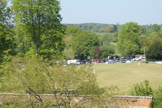 Farnham Castle : A view of the cricket ground from the castle keep