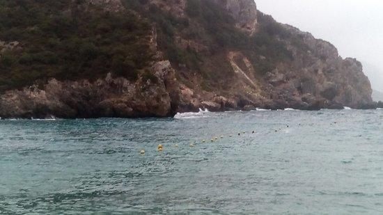 Agios Petros Beach : Wavy sea and fantastic rocks