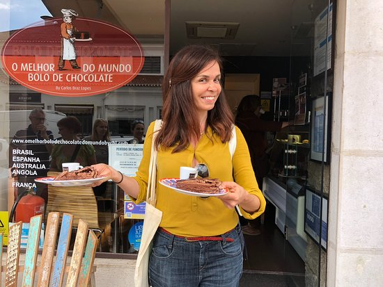 """Market, Food & Culture Walking Tour With Tastings (for small groups): Filipa with the """"wotld's best chocolate cake"""". A great start to the tour."""